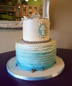 ombre blue buttercream cake