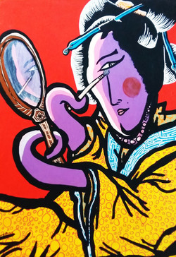 Carte postale Geisha coquette