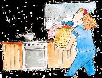 Women carring washing Illustration