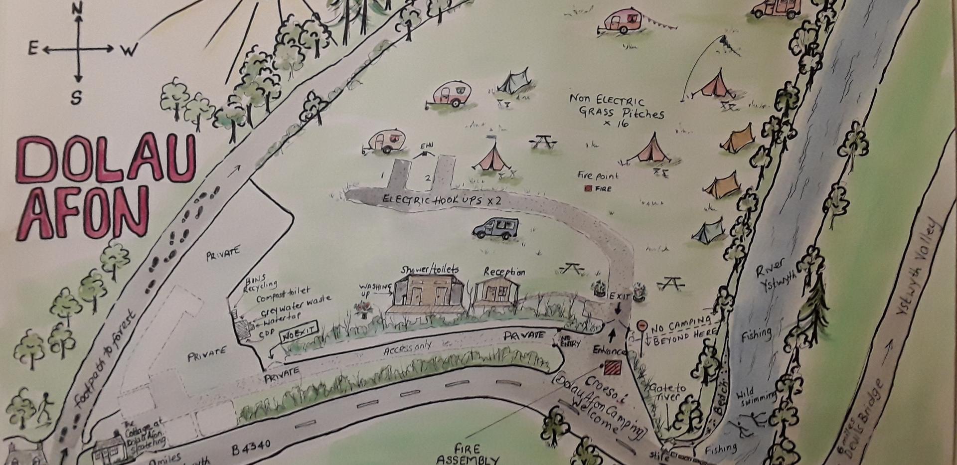 Dolau Afon Campsite Map