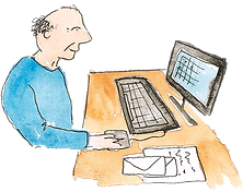 Man sitting at computer Illustration