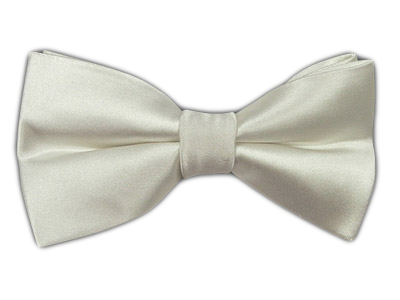 White Solid Satin Bowtie