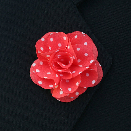 Red/White Polka Dots Flower Pin