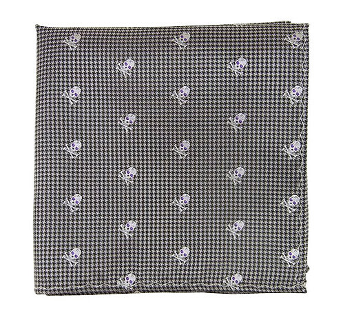 Gray Skull Tooth Pocket Square