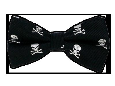 Black Skull and Crossbones Bowtie