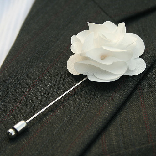 Cream White Flower Pin