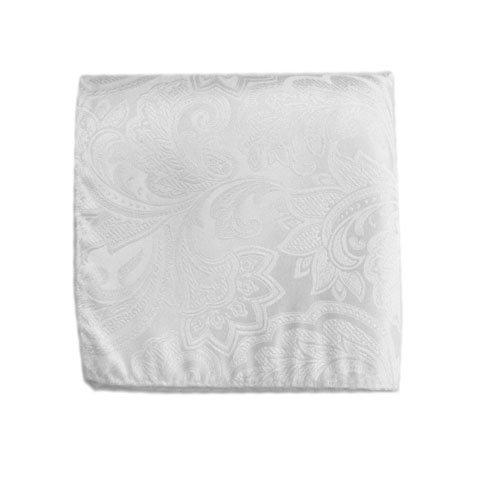 White Paisley Pocket Square