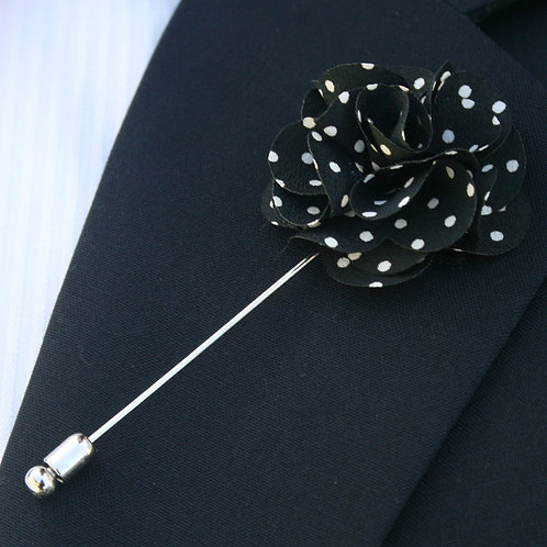 Black/White Polka Dots Flower Pin