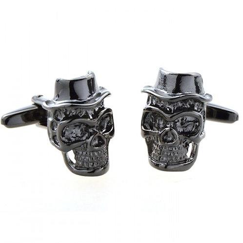 Gun Metal Skull Cufflinks