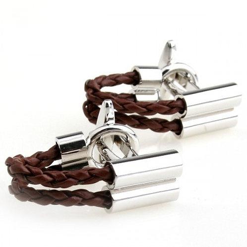 Brown Rope Wrap Around Cufflinks