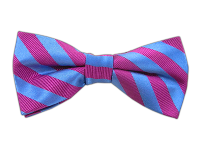 Fuschia/Bue Stripes Bowtie