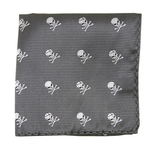 Gray Skull Pocket Square