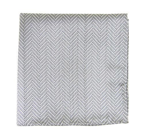 Silver Heringbone Pocket Square