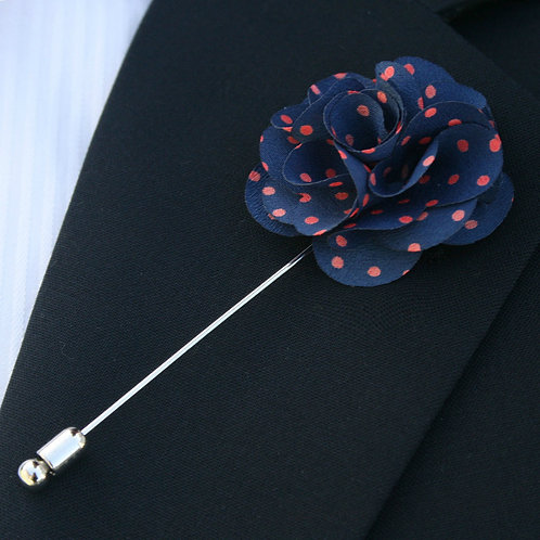 Navy/Red Polka Dots Flower Pin