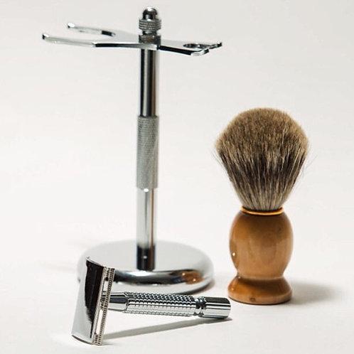 3 Piece Silver Shaving Kit