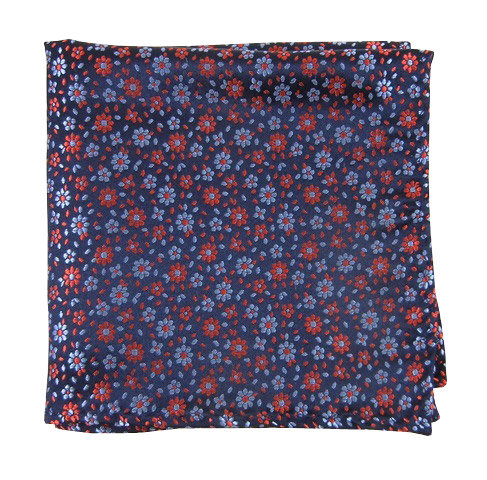 Navy/Red Flower Pocket Square