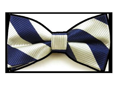 White/Navy Stripes Bowtie