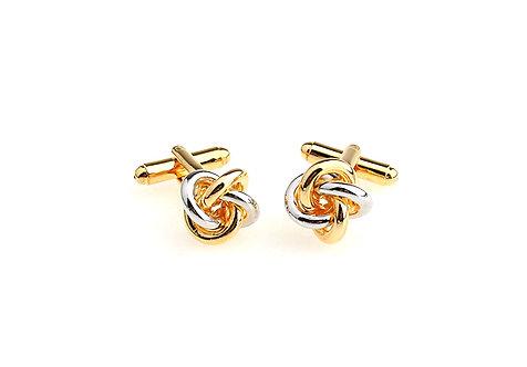 Novelty Engraved Plating Knot Gold Cufflinks