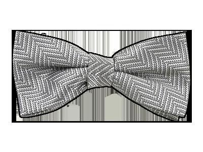 Silver Heringbone Bow Tie