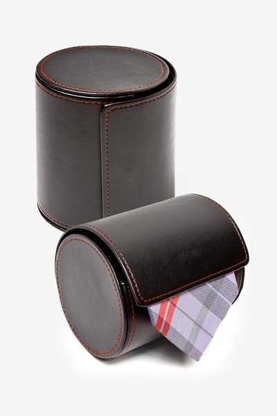 Black Leather Tie Roll Traveling Case