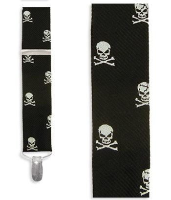 Skull and Crossbones Black Suspenders