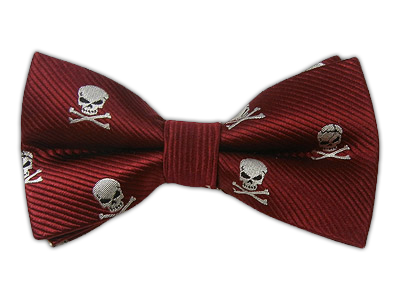 Burgundy Skull and Crossbones Bowtie