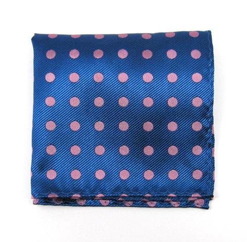 Blue/Pink Pivot Dots Pocket Square
