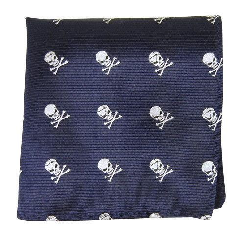 Navy Skull Pocket Square
