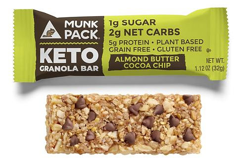 Munk Pack, Almond Butter Cocoa Chip Keto Granola Bar, 6-Pack