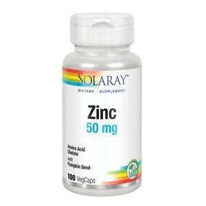 Solaray Zinc -- 50 mg - 100 Vegetarian Capsules