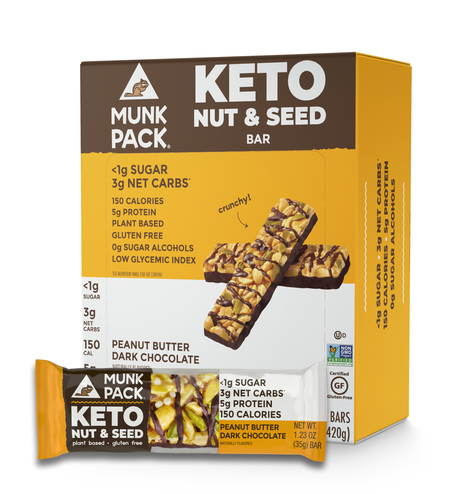 Munk Pack, Peanut Butter Dark Chocolate Keto Nut & Seed Bar