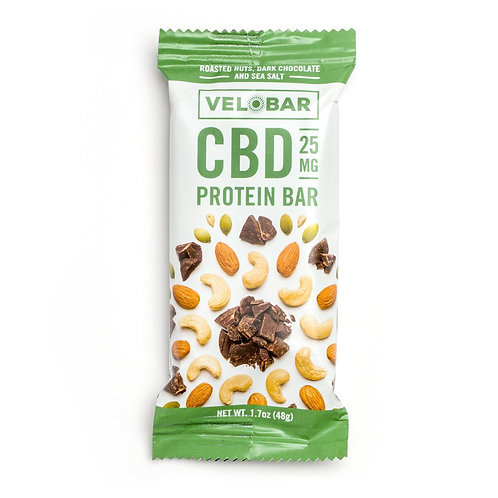 VELOBAR CBD 25mg ROASTED NUTS, DARK CHOCOLATE AND SEA SALT