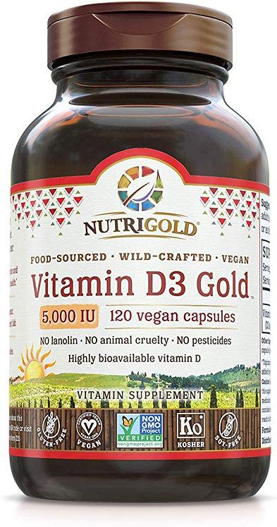 NutriGold, Vitamin D3, 5000 IU, 120vcaps