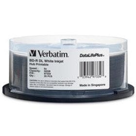 BD-R DL 50GB 6X DataLifePlus White Inkjet Printable, Hub Printable- 25 Discs
