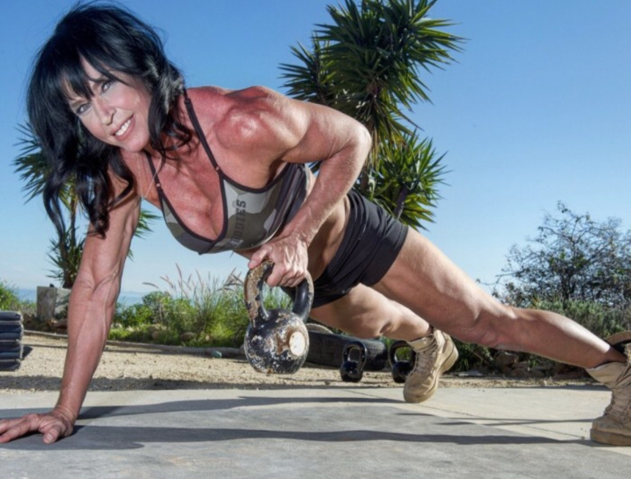 Andrea Logan with kettlebell