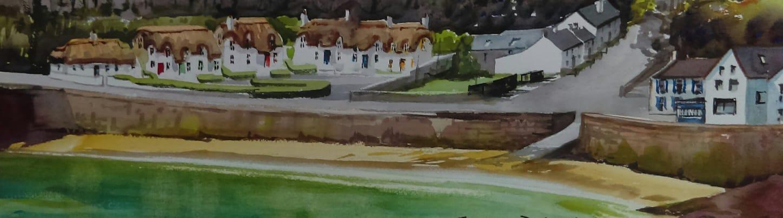 Dunmore East Cottages, watercolour