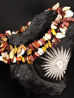 red, maroon, brown, yellow mookaite jasper crystal chip bracelet, bracelet with natural stone colors