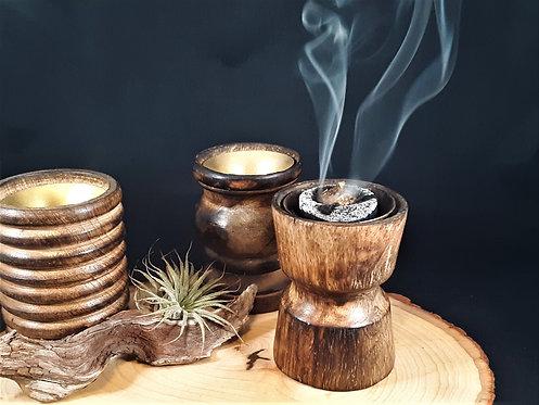 Polished Wood Incense Burner w/ Brass Lining - Charcoal Friendly