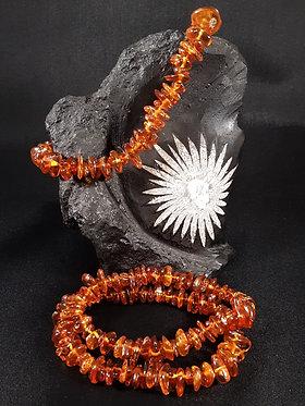 orange baltic amber crystal chip bracelet, bracelet with orange crystal stone