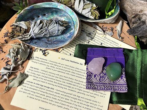 self-love crystal meditation kit, meditation set, rose quartz, green aventurine, lavender sage, ritual kit