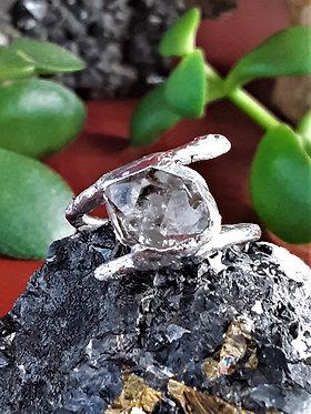 crystal clear herkimer diamond ring encased in silver solder