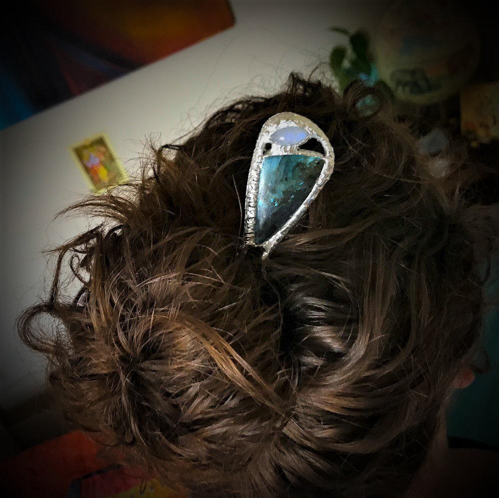 Hair Fork by Quattro Rainbow Moonstone