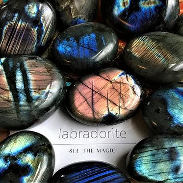 labradorite palm stones, see the magic