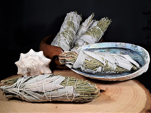 White Sage & Cedar Smudge Stick - Healing, Clearing, Protection