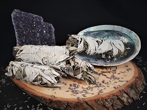 White Sage & Lavender Smudge Stick - Healing, Cleansing, Heart-Opening, Peace