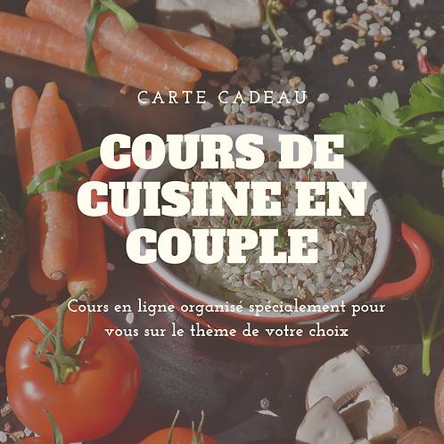 Carte Cadeau pour un cours de cuisine en couple d'une heure, en ligne