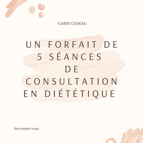 Carte Cadeau pour un forfait de 5 séances de consultation en diététique