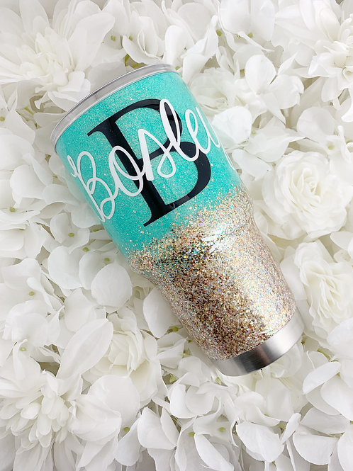 Carribean Blue and Glitz Tumbler