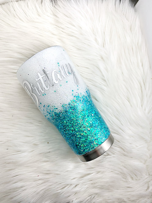 White and Turquoise Glitter Tumbler
