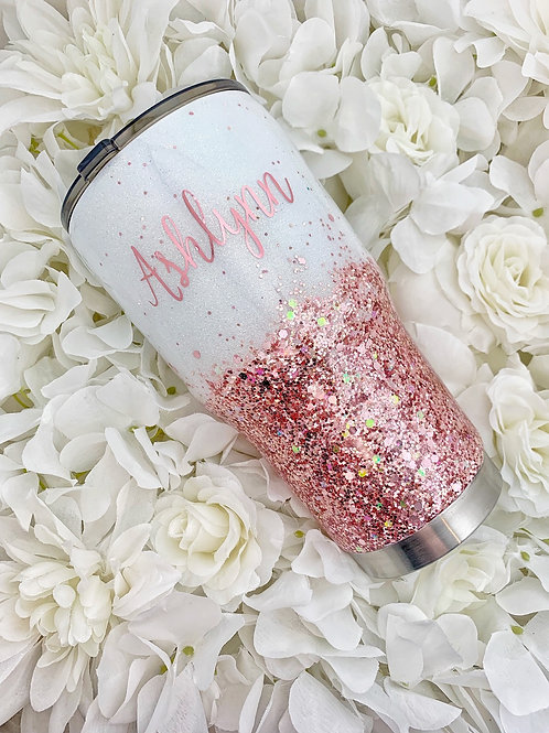 White and Rose Gold Tumbler